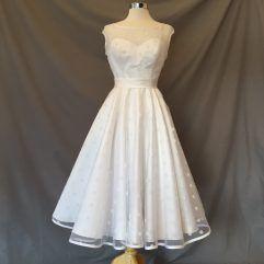 Audrey Lynn Vintage Bridal Lucy Dress | Rockabilly tea length wedding dress with polka dots