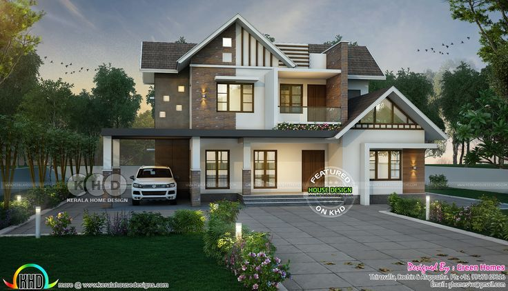 Sloping Roof Mix 4 Bedroom 3000 Sqft Home In 2020 Kerala House Design Single Floor House In 2020 Kerala House Design Bungalow House Design House Architecture Design