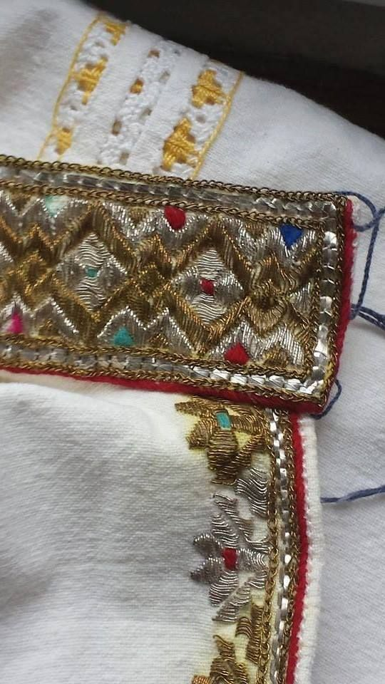 Traditional Romanian shirt detail. Men. Vrancea