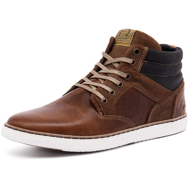 Wild Rhino Trench Cognac (1.899.305 IDR) ❤ liked on Polyvore featuring men's fashion, men's shoes, mens high top shoes, mens cognac dress shoes, mens leather high top shoes and mens leather shoes