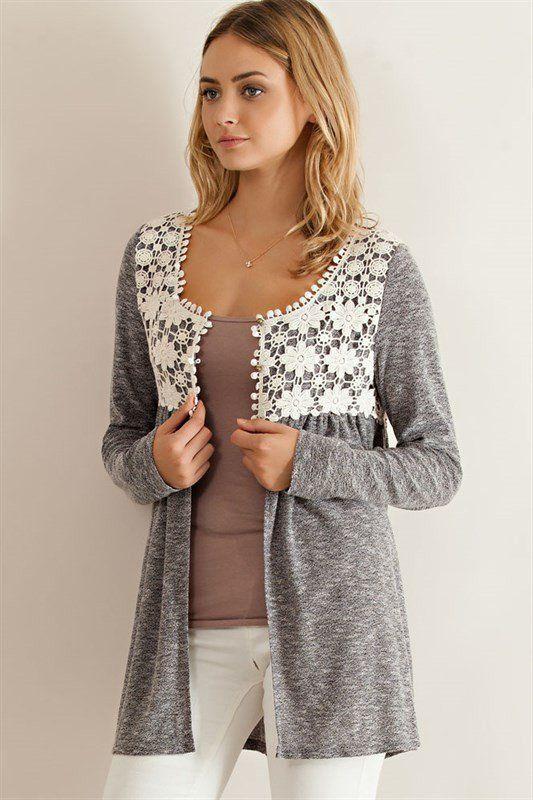 Crochet Lace Cardigan - Black