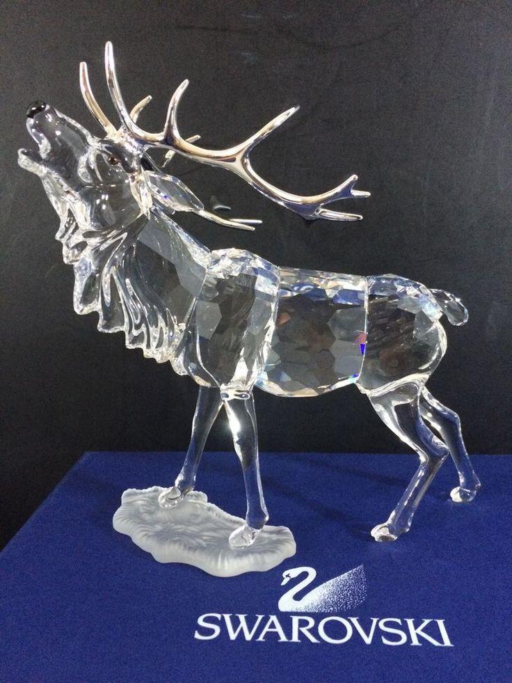 Nib male elk swarovski crystal stag animal figurine statue 291431 385 retired swarovski - Swarovski stag figurine ...