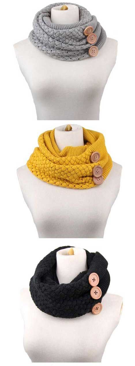 Happily color makes warm chic again in winter. Young lady scarf features crochet knitting and button ornament. Find your favourite at CUPSHE.COM !
