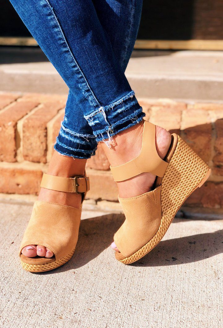 4aea4c1d058b TOMS Honey Suede and Leather Tropez Wedges