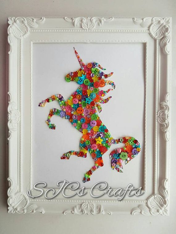 A very bright and colourful unicorn This is completed with a range of buttons, gems and flatbacks and finished in a 8 x 10 inch frame This can be completed in this bright colourful scheme or you can select a particular colour or combination