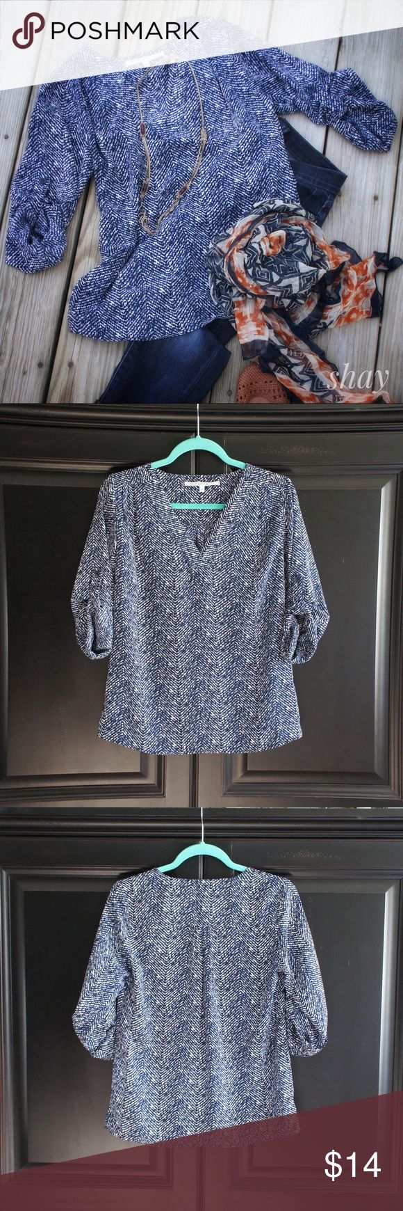 """3/4 Button Sleeve Top Cute 3/4 sleeve top by Collective Concepts. Looks great with denim capris. 100% Polyester marked Dry Clean Only. Which is why this is marked Priced To Sell! Bust 18"""" across and 24.5"""" overall length. Sized as XS but this is a little oversized and could also fit small. Tops Blouses"""