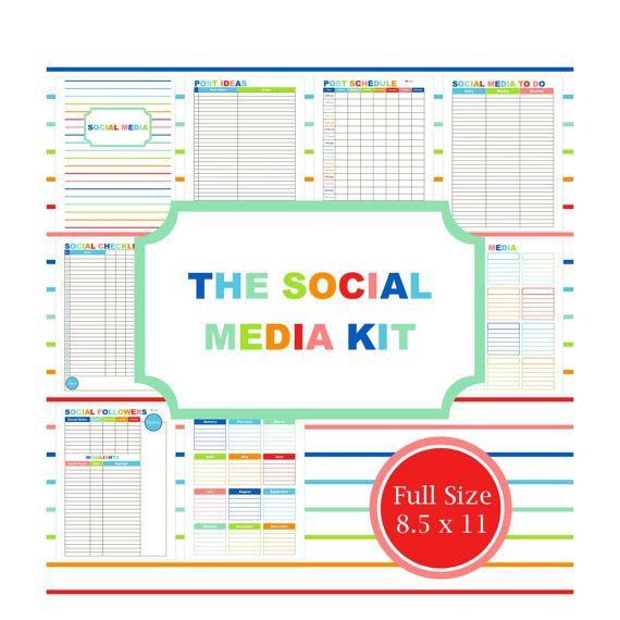 SOCIAL MEDIA KIT, Blog Planner, Printable, Planner
