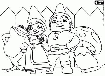 here is a colouring in page of gnomeo and juliet with their respective best friends