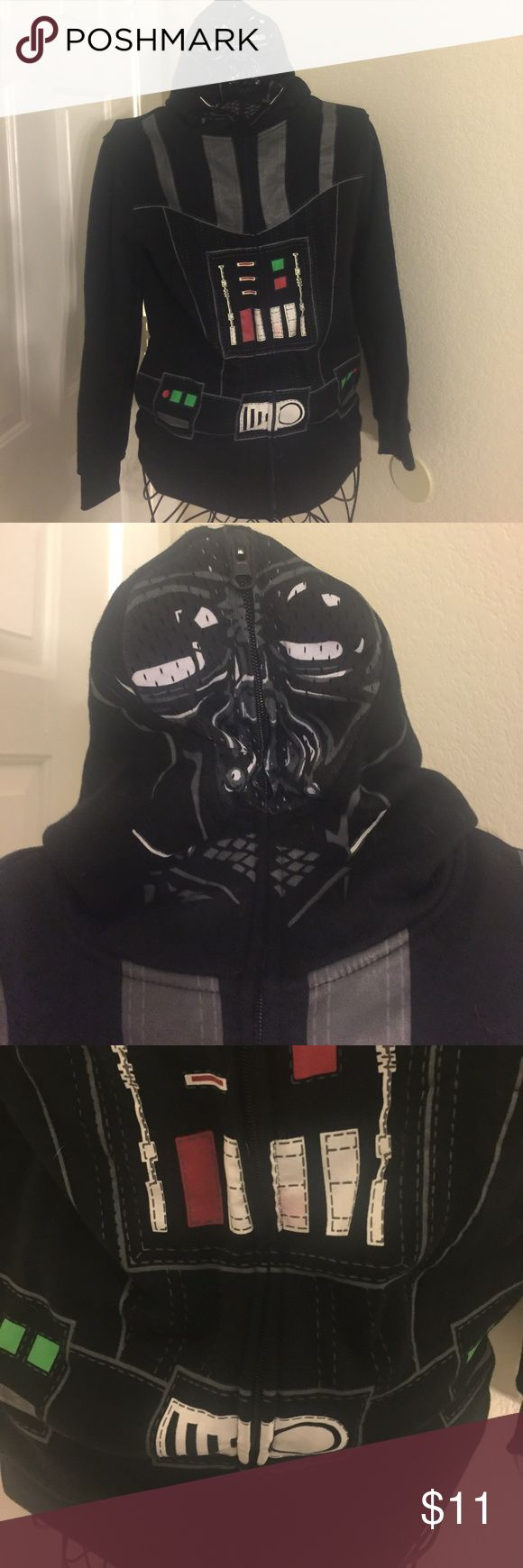 Star Wars darth Vader hoodie costume Star Wars darth Vader hoodie costume.  Boys size large.  Some of the red bled on to the white control panel during the wash see pictures. Otherwise excellent condition. star wars  Shirts & Tops Sweatshirts & Hoodies