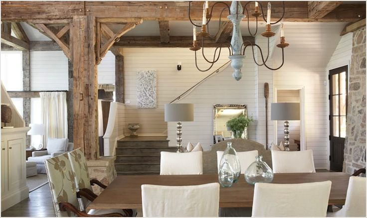 Tracery interiors- walls, wood beams