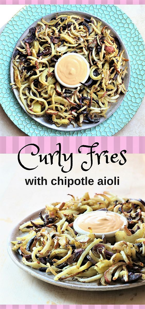 Curly fries with chipotle aioli #fries #chipotle #curly