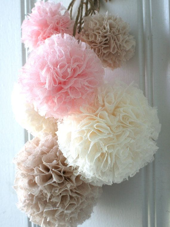 Baby Shower, Baptism Decorations, Nursery Decor, Set of 6 Hanging Pom Poms, Baby Pink, Ivory and Champagne Lace Pom Poms