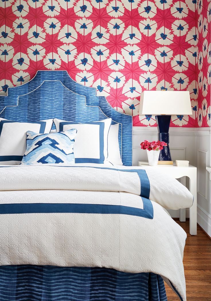 Pagoda Headboard in Wavelet printed fabric in Navy from Thibaut Fine Furniture