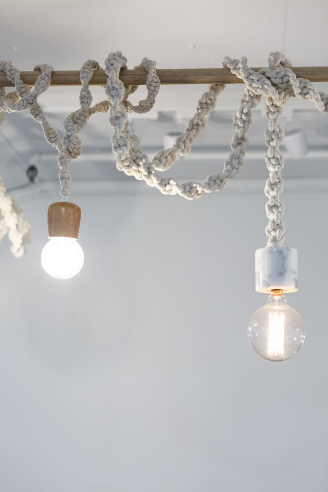 Custom made rope lights in the salon – #AFOH #aflickofhares #interiordesign #salondesign #hairsalon #nordicindustrial #minimalistdesign #idustrialchic #nordicdesign #macrame