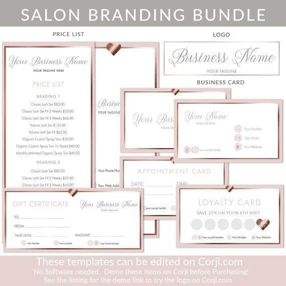 Logo Business Card Rose Gold Blush Pink Price List Beauty Logo Appointment Card Loyalty Card Edit Diy Branding Makeup Artist Logo Design Salon Branding