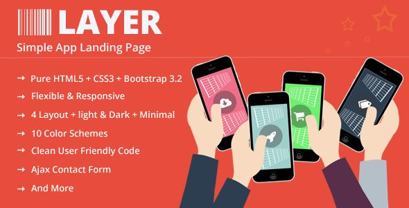 Layer - Responsive App Landing Page Layer landing page designed to showcase your mobile app. It is 100% responsive and looks stunning on all types of screens and devices. This theme is built upon latest Bootstrap framework. The template is very powerful, clean and fast, easy to customize and use.  http://themeforest.net/item/layer-responsive-app-landing-page/9115418?ref=zozothemes