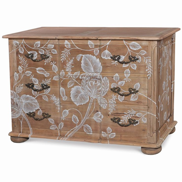 Bombe 3 Drawer Dresser Large. Customize items with any of our wide range of finishes, colors, and hand painted artwork. Any item can be painted in over million ways enabling items to be truly unique. The possibility are nearly endless and include stained, distressed, textured, antiqued, weathered and metallic finishes. In addition, artwork is available on most items. Items can be customized with any of our hand painted designs.