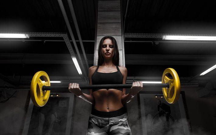 Scarica sfondi palestra, fitness, bilanciere, allenamento, Sport, ragazza, ragazza con bilanciere, esercizi con bilanciere