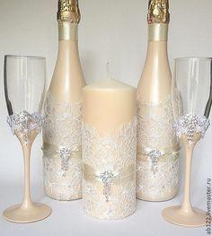Купить Свадебный набор айвори со стразами - бежевый, свадебные аксессуары, свадебное шампанское
