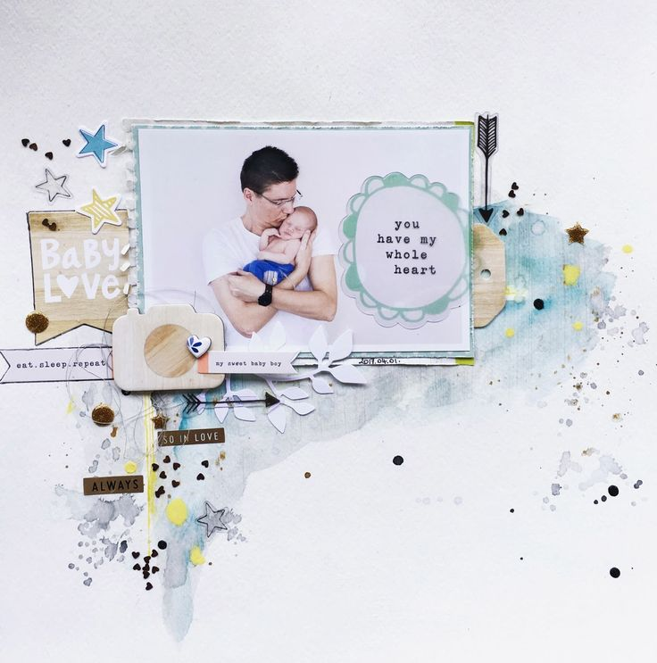 Mixed media page, daddy and son <3 used Little you boy embellishments from Create paper