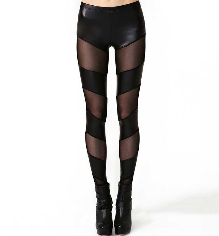 Leather Look Leggings With Mesh Inserts