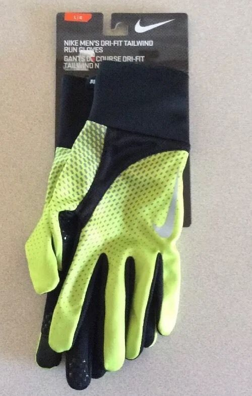 New NWT Nike Mens Large L Dri Fit Tailwind Running Gloves Volt Green Black  | eBay