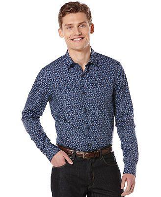 Perry Ellis Big and Tall Shirt, Long-Sleeve Forrest Print Shirt