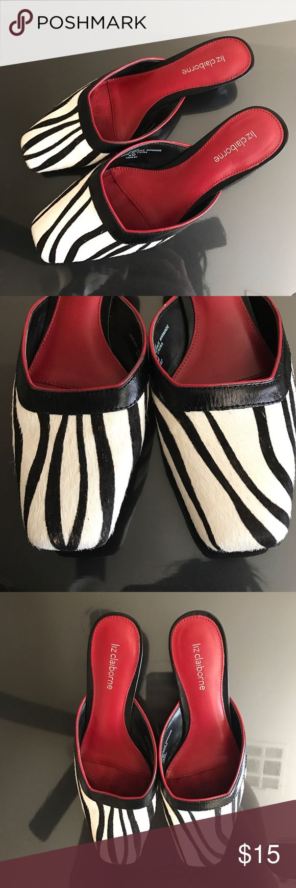 "EUC Liz Claiborne zebra shoe with tiny heel Liz Claiborne zebra 1"" Heel with red trim & interior. Used 2x. Super cute & comfortable. Again, I wear scrubs to work and I have no use for these! So looking for a new lovable home. (: make me an offer Liz Claiborne Shoes Heels"