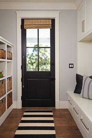 Country Entryway with Glass panel door, Ikea - kallax shelving unit, Built-in bookshelf, Painted dutch door, Dutch door