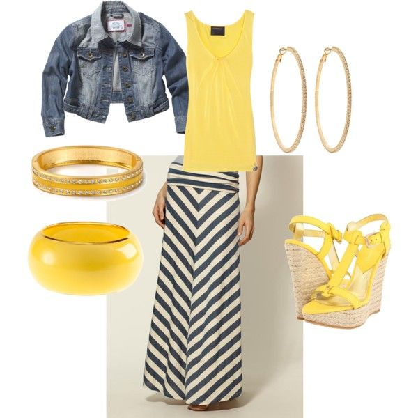 Yellow V-Neck and bracelet with gray maxi.