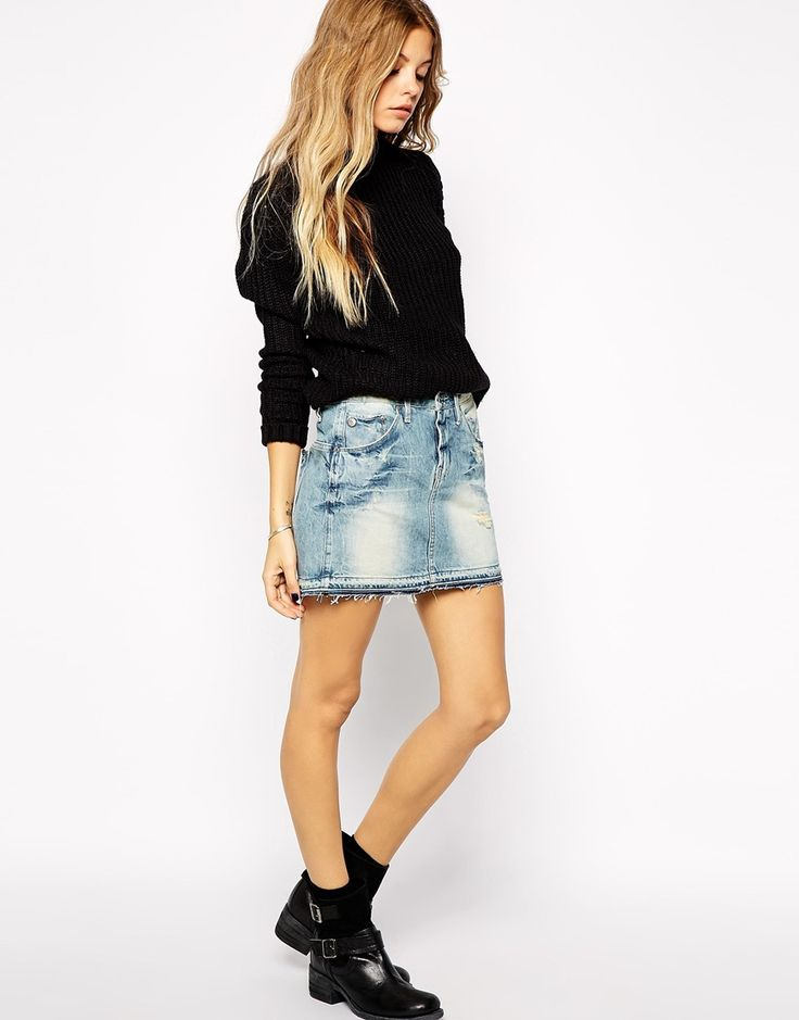 G+Star+Raw+Edge+Denim+Skirt