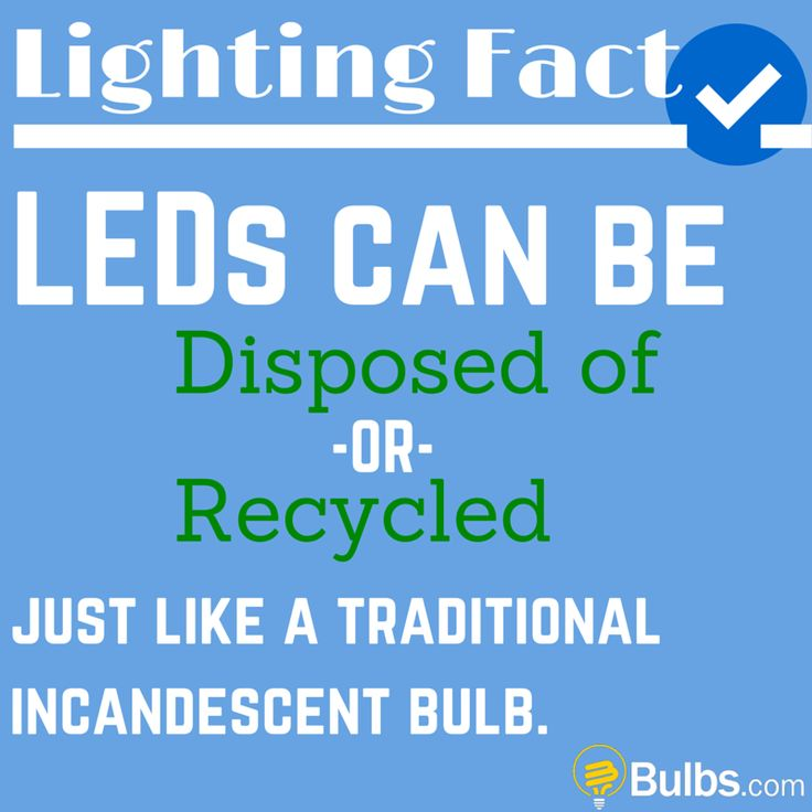 Lighting Fact: LEDs can be disposed of or recycled just like a traditional incandescent bulb.