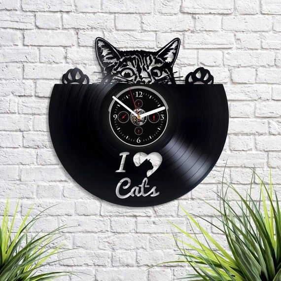Vinyl Record Wall Clock I Love Cats Vinyl Clock Cat Birthday Etsy In 2020 Cat Birthday I Love Cats Retro Wall Clock