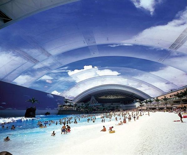 """Ocean Dome,"" the largest indoor swimming pool in the world. Located in Miyazaki, Japan."