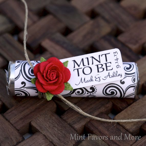 """Mint wedding Favors - Set of 24 mint rolls - """"Mint to be"""" favors with personalized tag - red, black and white, elegant, classy red"""