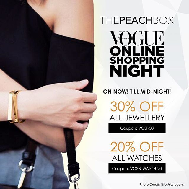 """Only 3 hours to go before VOSN Sale finishes! Last chance to shop 30% Off Jewellery and 20% Off Watches! Use coupon code """"VOSN30"""" (for jewellery) and """"VOSN-WATCH-20"""" (""""for watches) at checkout!! @thepeachbox @vogue #thepeachbox #vosn"""