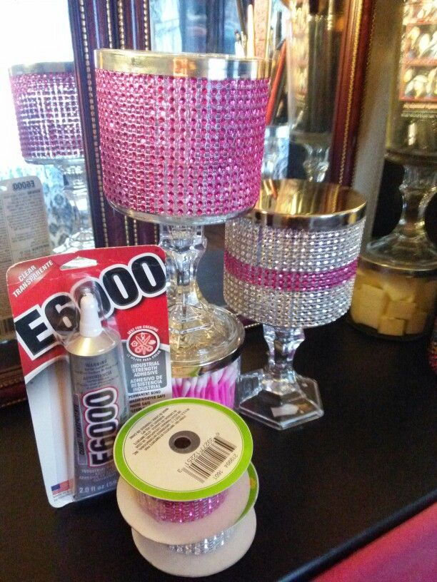 Simple makeup storage with Wick candle jars at Dollar Tree candlesticks and Dollar Tree Diamondback fast simple and easy