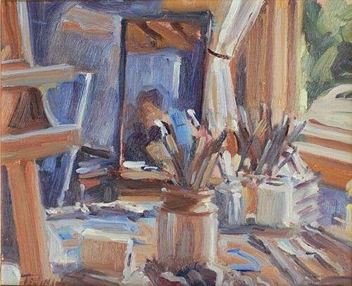 Norman Teeling 'Artist's Studio' #art #paintiing #StillLife #artsupplies #NormanTeeling #DukeStreetGallery
