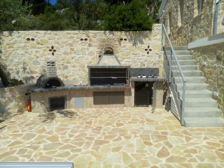 barbecue grill - garden - brick - oven - sxistolithos