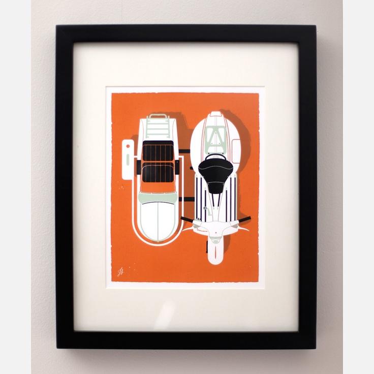 LOVE THE VINTAGE-Y, SIMPLICITY OF THIS BRIGHT DESIGN. _____ Vintage Vespa Sidecar  by Jeremy Slagle
