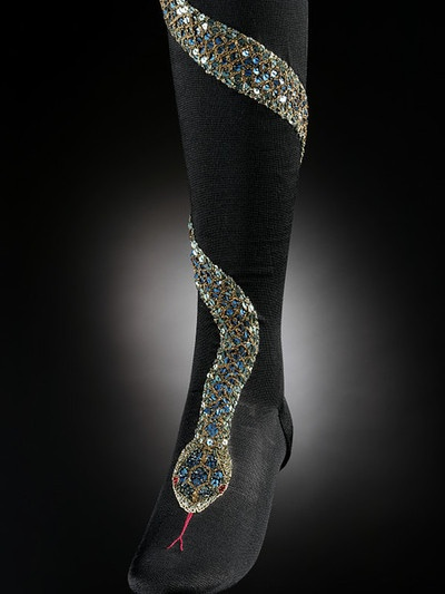 Utterly awesome bejeweled snake stockings, 1900. Via The Victoria & Albert Museum.