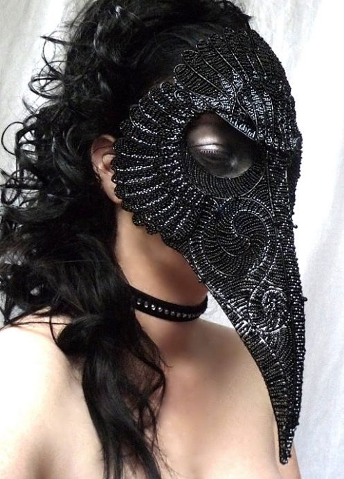 "Crows Ravens:  A raven Il Medico della Peste (""Plague Doctor"") mask."