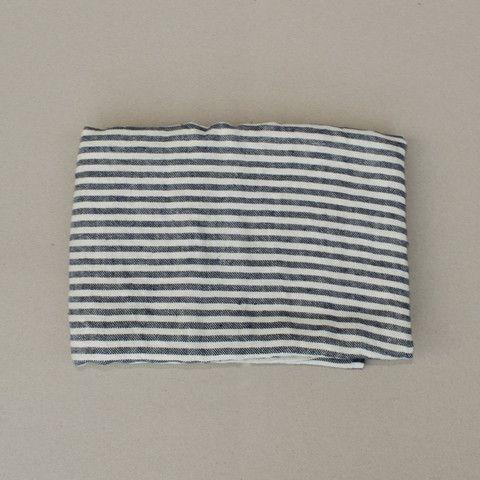 Striped navy cotton throw