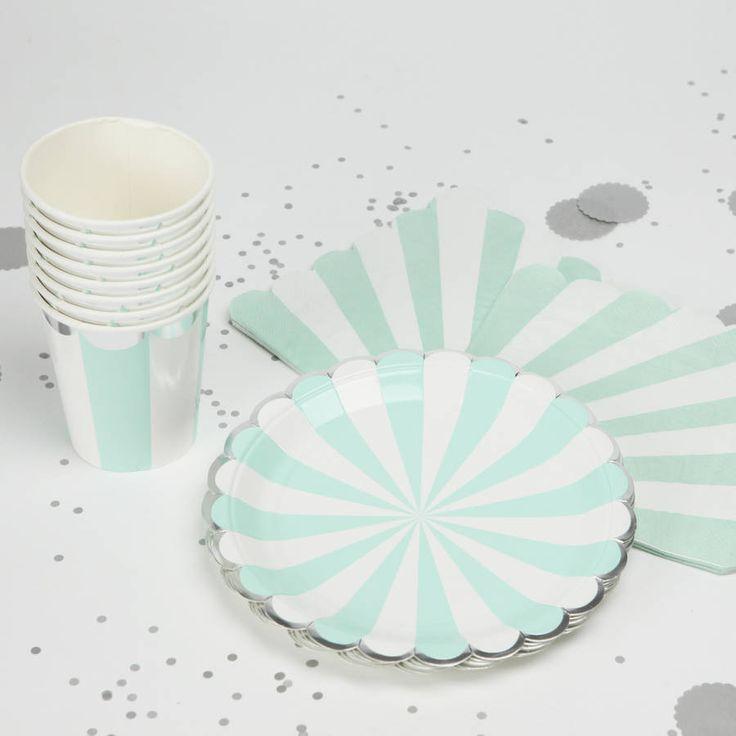 Mint Stripe Tableware Set. Disposable TablewareParty ... & 45 best Party supplies images on Pinterest
