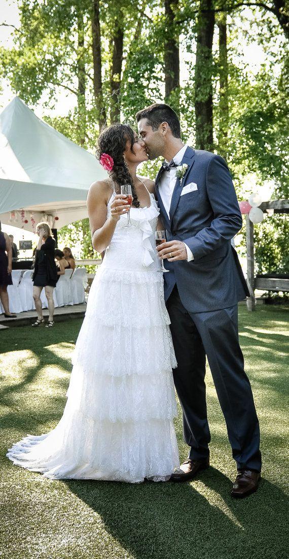 White Lace Bohemian Wedding Dress Long Bridal by SuzannaMDesigns