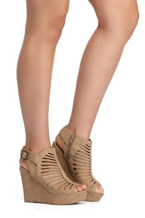 Natural Caged Peep Toe Wedges | WindsorCloud