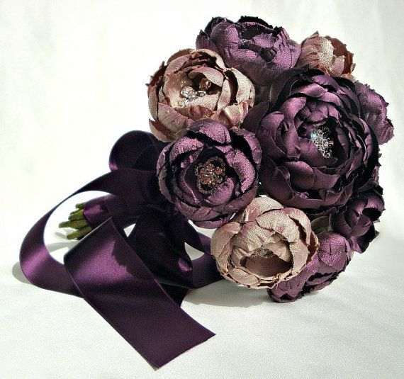 Plum and Lavender Champagne Silk Fabric Flower by EmiciLivet