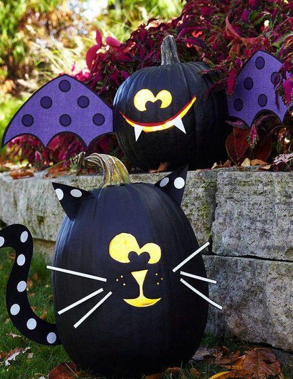 DIY Black Bat and Black Cat Pumpkins.