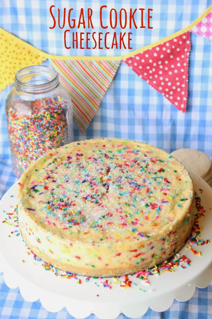 """Sugar Cookie Cheesecake by Munchkin Munchies. I'm not a fan of the jimmies because I dislike the """"funfetti"""" crap, but the rest of this looks amazing!"""