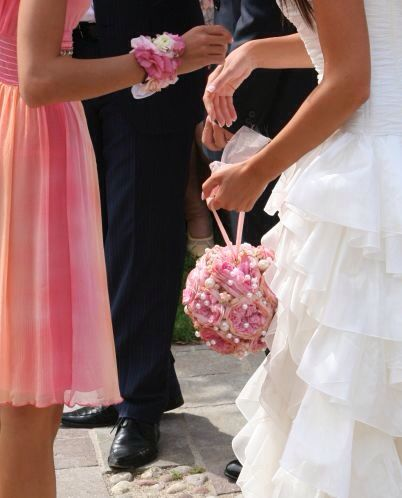 Flower ball and a wrist-corsage